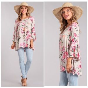 Floral Tunic with Bell Sleeves Small Medium Large